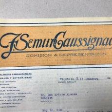 Facturas antiguas: REPRESENTANTE FARMACIA VALENCIA. F. DEMUR CAUSSIGNAC. Lote 137230849