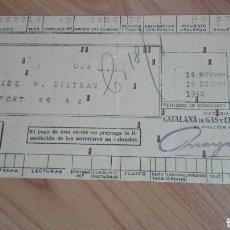 Facturas antiguas: RECIBO DE GAS DE CATALANA DE GAS Y ELECTRICIDAD. Lote 137231650