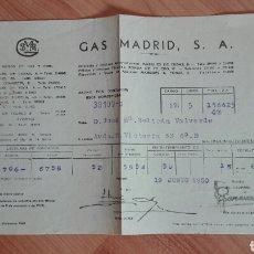 Facturas antiguas: RECIBO DE GAS MADRID DE 1950. Lote 137231789