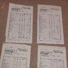 Facturas antiguas: CUATRO ALBARANES DEL RESTAURANTE MONTEMAR....CASTELLÓN...1984/85..... Lote 137434454