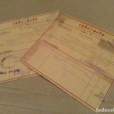 Facturas antiguas: LOTE 2 FACTURAS DOS HERMANAS SEVILLA CABEZUELO ACEITUNAS GUERRA CIVIL 1939. Lote 137900842