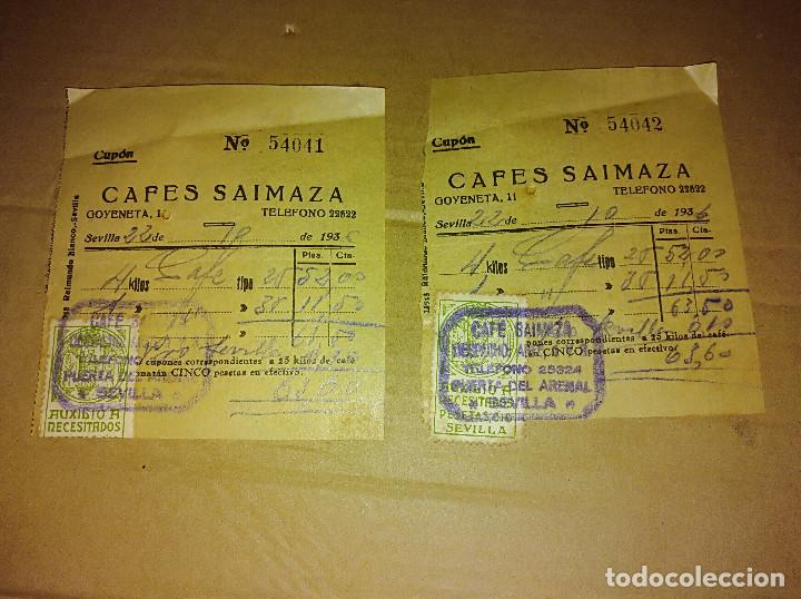 LOTE 2 CUPONES FACTURA CAFE SAIMAZA SEVILLA SELLO AUXILIO GUERRA CIVIL 1936 (Coleccionismo - Documentos - Facturas Antiguas)