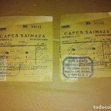 Facturas antiguas: LOTE 2 CUPONES FACTURA CAFE SAIMAZA SEVILLA SELLO AUXILIO GUERRA CIVIL 1936. Lote 138599938