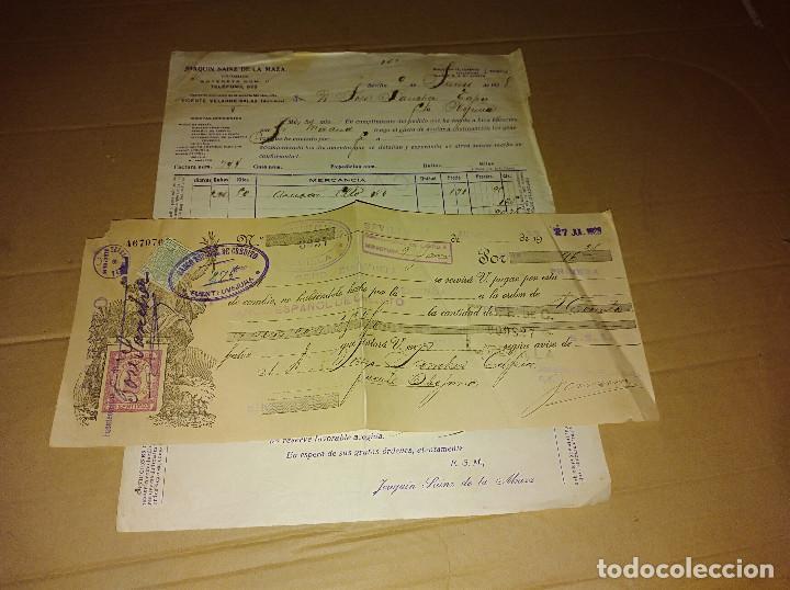 Facturas antiguas: lote 5 factura / letra sevilla joaquin sainz de la maza cafe saimaza 1927 -28 - Foto 3 - 138602606