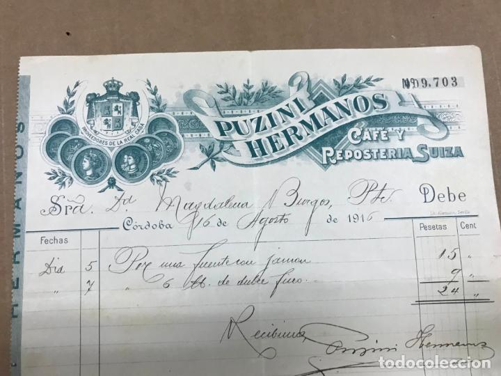 Facturas antiguas: ANTIGUA FACTURA DE PUZINI HERMANOS CAFE Y RESPOSTERIA SUIZA, CORDOBA 1916 - Foto 2 - 138817134