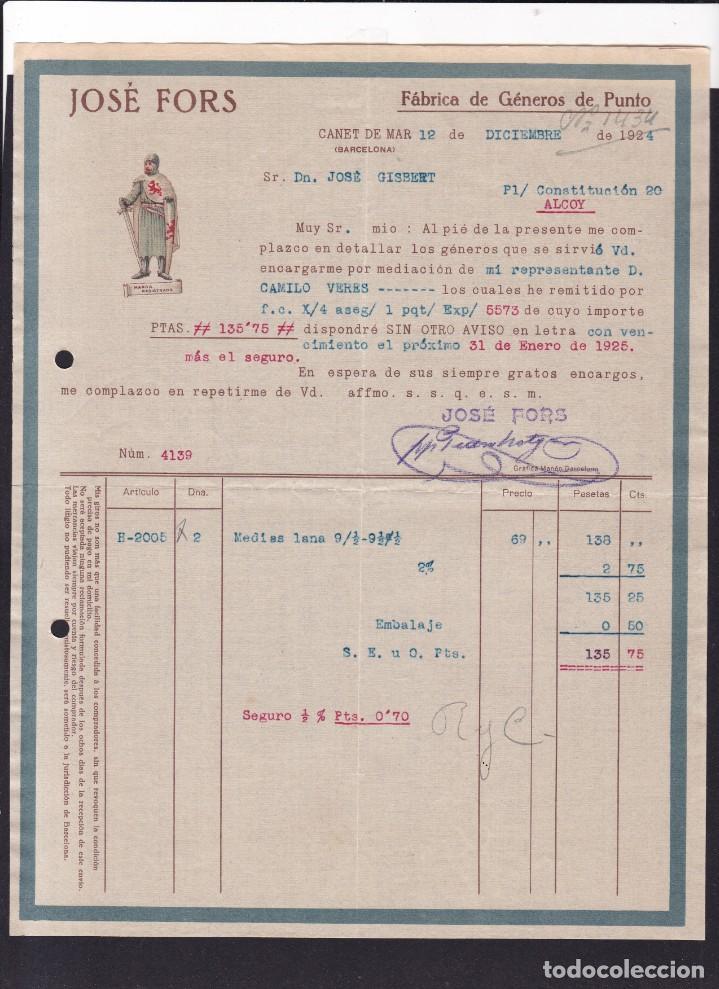 CANET DE MAR - JOSÉ FORS - GENEROS DE PUNTO - 12 DE DICIEMBRE DE 1924 (Coleccionismo - Documentos - Facturas Antiguas)