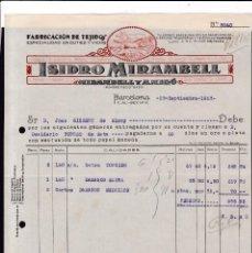 Facturas antiguas: BARCELONA - 1923 - ISIDRO MIRAMBELL - TEJIDOS CUTIES Y VICHIS - 29 DE SEPTIEMBRE DE 1923. Lote 139706914