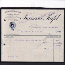 Facturas antiguas: BARCELONA - 1924 - FRANCISCO RAFEL - GÉNEROS DE PUNTO - 12 DE JULIO DE 1924. Lote 140239710