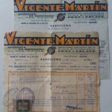 Facturas antiguas: BARCELONA. VICENTE MARTÍN, ARTÍCULOS DE ESCRITORIO. CARTA Y FACTURA 1940. CON VIÑETA. Lote 140376753