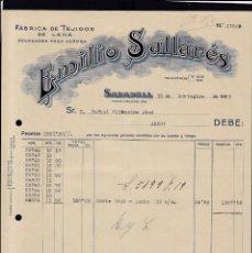 Faturas antigas: SABADELL - 1925 - EMILIO SALLARÉS - TEFIDOS DE LANA - 13 DE NOVIEMBRE DE 1925. Lote 140382810