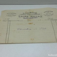 Facturas antiguas: MANRESA - EL GLOBO MANRESANO - FABRICA DE FOSFOROS DE JAIME MILLAU - MANRESA 18... Lote 140475286