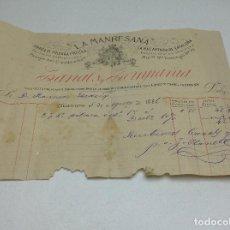 Facturas antiguas: LA MANRESANA - FABRICA DE POLVORA Y MECHA - MANRESA 5/8/1881 - PROVEEDORES DE LA REAL CASA . Lote 140476318