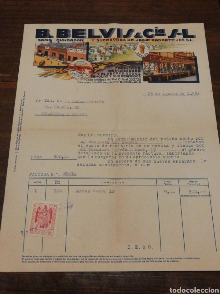 ANTIGUA FACTURA B.BELVIS Y CIA S.L (FABRICA DESCASCARAR Y ELABORAR ARROZ-BCN), 1952.TIMBRE. (Coleccionismo - Documentos - Facturas Antiguas)
