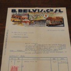 Facturas antiguas: ANTIGUA FACTURA B.BELVIS Y CIA S.L (FABRICA DESCASCARAR Y ELABORAR ARROZ-BCN), 1952.TIMBRE.. Lote 140801256