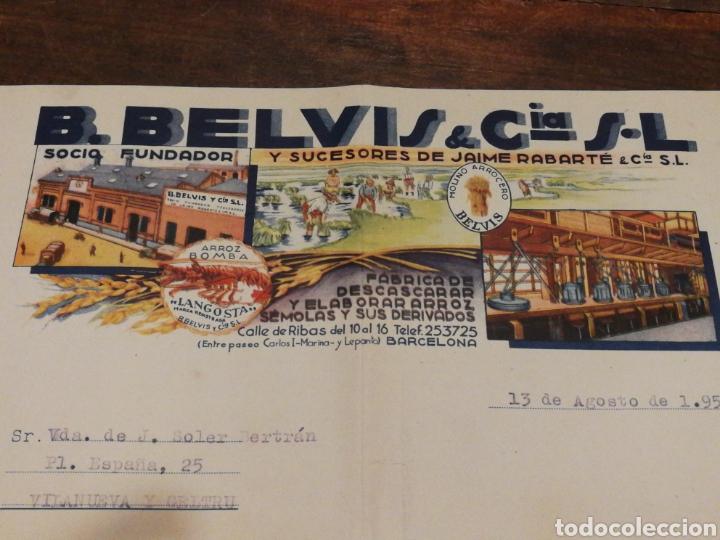 Facturas antiguas: ANTIGUA FACTURA B.BELVIS Y CIA S.L (FABRICA DESCASCARAR Y ELABORAR ARROZ-BCN), 1952.TIMBRE. - Foto 2 - 140801256