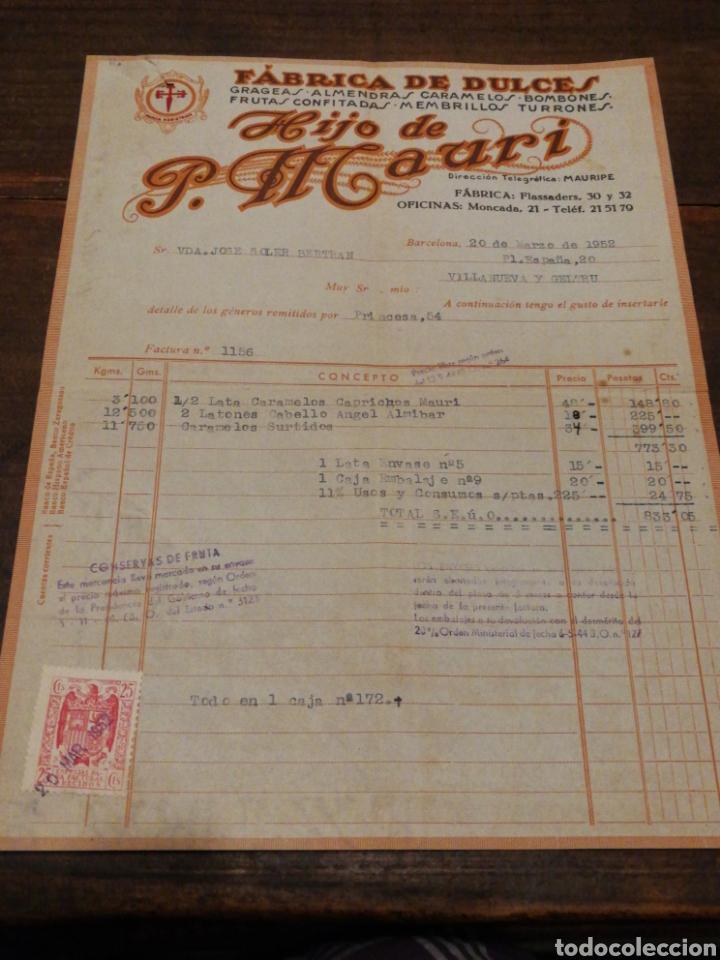 ANYIGUA FACTIRA FÁBRICA DE DULCES- HIJO DE P.MAURI, (MONCADA-BCN), 1952. (Coleccionismo - Documentos - Facturas Antiguas)