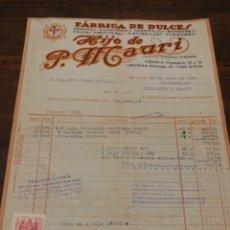 Facturas antiguas: ANYIGUA FACTIRA FÁBRICA DE DULCES- HIJO DE P.MAURI, (MONCADA-BCN), 1952.. Lote 140803732
