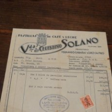 Facturas antiguas: ANTIGUA FACTURA VDA.DE CELESTINO SOLANO, PASTILLAS DE CAFÉ Y LECHE (LOGROÑO), 1952, TIMBRE.. Lote 140804556