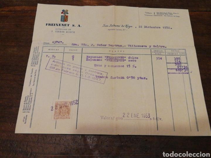 ANTIGUA FACTURA FREIXENET S.A.(SAN SADURNÍ DE NOYA), 1952, TIMBRE. (Coleccionismo - Documentos - Facturas Antiguas)