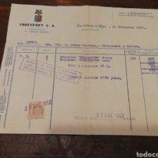Facturas antiguas: ANTIGUA FACTURA FREIXENET S.A.(SAN SADURNÍ DE NOYA), 1952, TIMBRE.. Lote 140917468