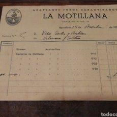 Facturas antiguas: ANTIGUA FACTURA LA MONTILLANA- AZAFRANES PUROS GARANTIZADOS (BARCELONA), 1951.. Lote 140917838