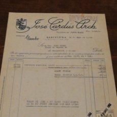 Facturas antiguas: ANTIGUA FACTURA JOSÉ CARDÚS ARCH- BOMBONES ELISENDA (BARCELONA), 1952, TIMBRES.. Lote 140920952