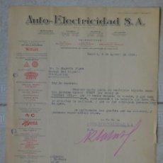 Facturas antiguas: FACTURA AUTO-ELECTRICIDAD S.A. PARA GARAJE SAN MIGUEL (GUADALAJARA). MADRID, 5 DE AGOSTO DE 1932. Lote 142254446