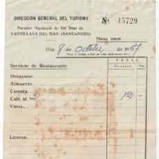Facturas antiguas: FACTURA PARADOR NACIONAL DE GIL BLAS SANTILLANA DEL MAR SANTANDER 1957 - -DOC-9. Lote 142332890