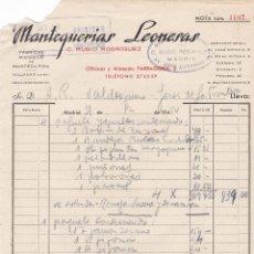 Facturas antiguas: FACTURA. MANTEQUERIAS LEONESAS. C.RUBIO RODRIGUEZ. MADRID 1954. Lote 142639022