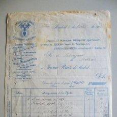 Facturas antiguas: INSTALACIONES DE ALUMBRADO ELÉCTRICO JAIME RUIZ CALLE ARENAL 22 MADRID AÑO 1907. Lote 142641742