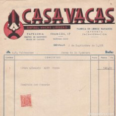Facturas antiguas: FACTURA. CASAVACAS.RAFAEL VACAS LIBRERO.FÁBRICA LIBROS RAYADOS-IMPRENTA-ENCUADERNACIÓN. SEVILLA 1958. Lote 142773178