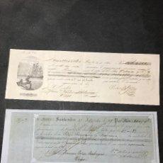 Facturas antiguas: LOTE DE 2 LETRAS LIBRADAS EN SANTANDER CONTRA UNA PERSONA DE VIGO. AÑOS 1845 Y 1869. Lote 142978982