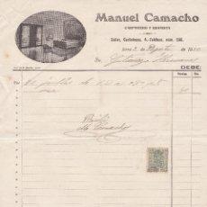 Facturas antiguas: FACTURA. MANUEL CAMACHO. CARPINTERO Y EBANISTA. JEREZ DE LA FRONTERA 1930. Lote 143044886