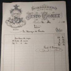 Facturas antiguas: 1310. FACTURA DEL SOMBRERERO JUSTO GÓMEZ. MARQUÉS DE PAREDES. 1887.. Lote 143073746