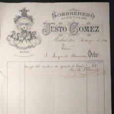 Facturas antiguas: FACTURA DEL SOMBRERERO JUSTO GÓMEZ, POR ARREGLO SOMBRERO GRANDE DE ESPAÑA. MARQUÉS DE PAREDES. 1894.. Lote 143074126