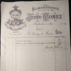 Facturas antiguas: FACTURA DEL SOMBRERERO JUSTO GÓMEZ. MARQUÉS DE PAREDES. 1893. SOMBRERO DE LA ORDEN DE SANTIAGO.. Lote 143074358