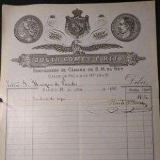 Facturas antiguas: FACTURA DEL SOMBRERERO JUSTO GÓMEZ E HIJO. MARQUÉS DE PAREDES. 1885.. Lote 143074674