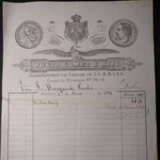Facturas antiguas: FACTURA DEL SOMBRERERO JUSTO GÓMEZ E HIJO. MARQUÉS DE PAREDES. 1882.. Lote 143074930