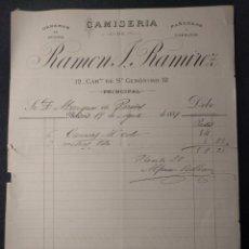 Facturas antiguas: FACTURA DE CAMISERÍA DE RAMÓN J. RAMÍREZ. MADRID. MARQUÉS DE PAREDES. 1889.. Lote 143075178