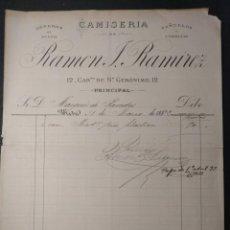 Facturas antiguas: 1316. FACTURA DE CAMISERÍA DE RAMÓN J. RAMÍREZ. MADRID. MARQUÉS DE PAREDES. 1892.. Lote 143075422