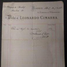 Facturas antiguas: 1317. FACTURA DEL SASTRE LEONARDO CIMARRA. MARQUÉS DE PAREDES. 1888.. Lote 143075738