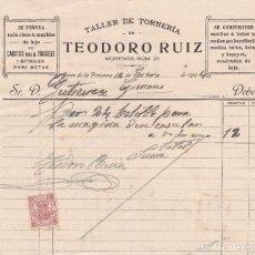 Facturas antiguas: FACTURA. TEODORO RUIZ. TALLER DE TONELERÍA. JEREZ DE LA FRONTERA 1924. Lote 143267822