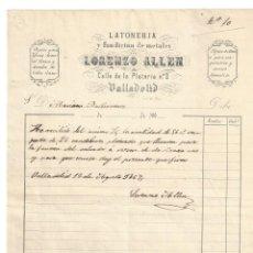 Facturas antiguas: FACTURA- LORENZO ALLEN. LATONERIA Y FUNDICIÓN DE METALES. OBJETOS DE BRONCE. VALLADOLID- 1867. Lote 143304390