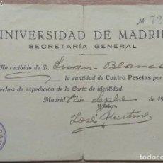 Facturas antiguas: DOCUMENTO DE PAGO UNIVERSIDAD DE MADRID 1928. Lote 143706558