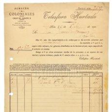 Facturas antiguas: FACTURA ALMACEN DE COLONIALES TELESFORO HURTADO. LEÓN 1921. Lote 144003598