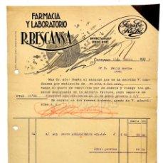 Facturas antiguas: FACTURA FARMACIA Y LABORATORIO R. BECANSA. JARABE RICHÉ. SANTIAGO GALICIA 1925. Lote 144046170