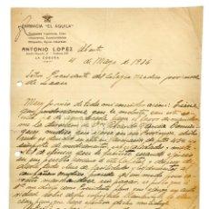 Facturas antiguas: FACTURA CARTA COMERCIAL FARMACIA EL ÁGUILA ANTONIO LÓPEZ. LA CORUÑA GALICIA 1936. Lote 144046586