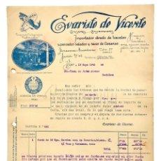 Facturas antiguas: FACTURA IMPORTADOR DE PESCADOS EVARISTO DE VICENTE. VIGO GALICIA 1945. Lote 144047158