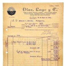 Facturas antiguas: FACTURA FÁBRICA DE ESPEJOS LUNAS Y RÓTULOS DIAZ LAGE Y CIA. LA CORUÑA GALICIA 1928. Lote 144047874