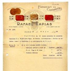 Facturas antiguas: FACTURA FÁBRICA DE CONSERVAS RAFAEL TAPIAS. VIGO GALICIA 1936. Lote 144048222